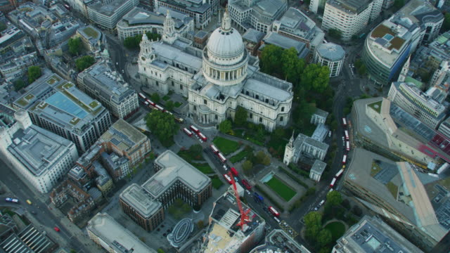 aerial sunset view st pauls anglican cathedral london - anglican stock videos & royalty-free footage