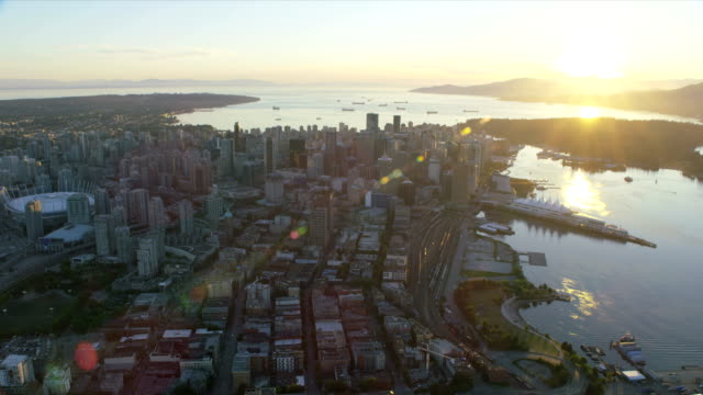 Aerial sunset view Stanley Park Vancouver Canada