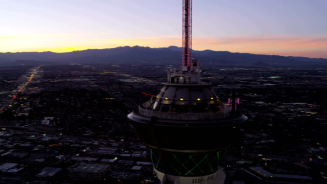 Aerial sunset view Stratosphere Tower Las Vegas Nevada