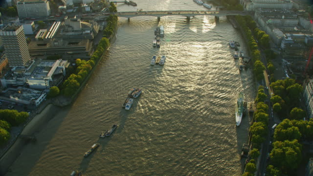 aerial sunset view sunlight on river thames london - millennium wheel stock videos & royalty-free footage