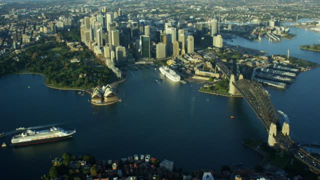 Aerial sunset view Sydney Harbor Bridge Cruise ship