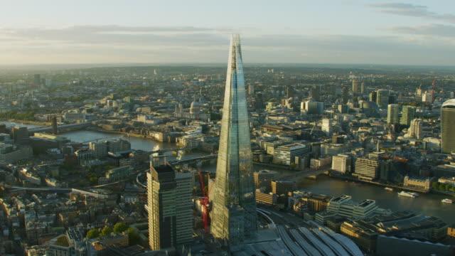 aerial sunset view the shard river thames london - shard london bridge stock videos & royalty-free footage