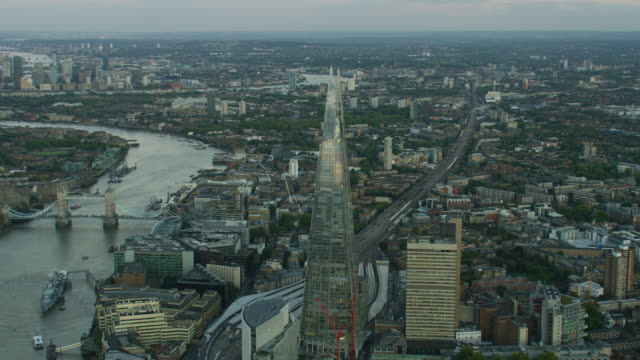 aerial sunset view the shard tower bridge london - town hall stock videos & royalty-free footage