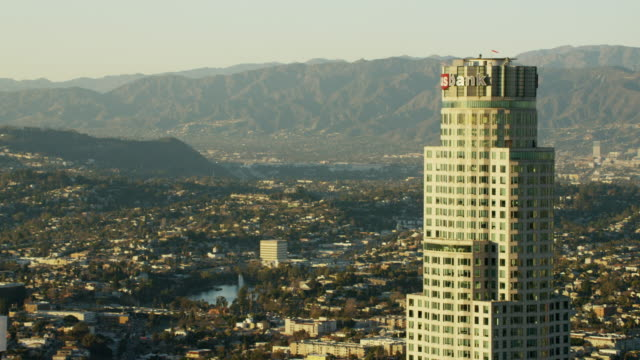 aerial sunset view us bank building los angeles - us bank tower stock videos and b-roll footage