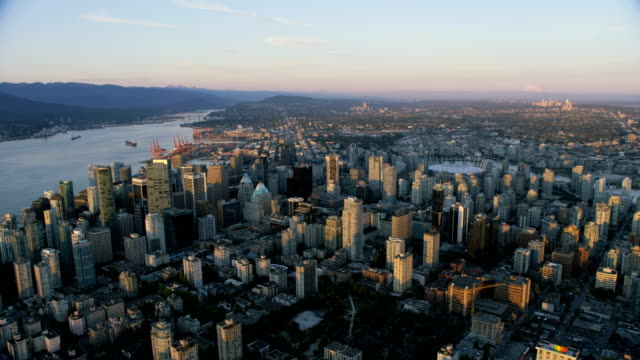 Aerial sunset view Vancouver Harbour British Columbia Canada