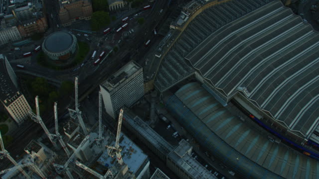 aerial sunset view waterloo railway station london cityscape - twilight stock videos & royalty-free footage