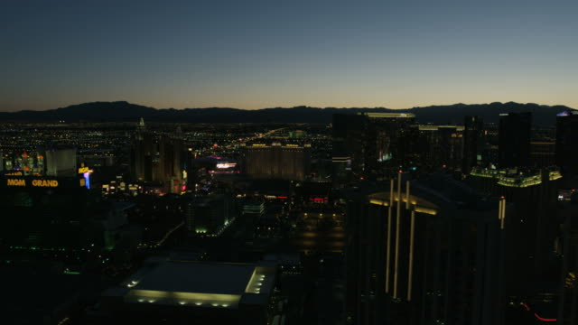 Aerial sunsett view casino hotels Las Vegas Blvd