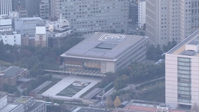 aerial surrounding townscape of the national diet of japan and the office of prime minister nagatacho tokyo in the morning - hubschrauber landeplatz stock-videos und b-roll-filmmaterial