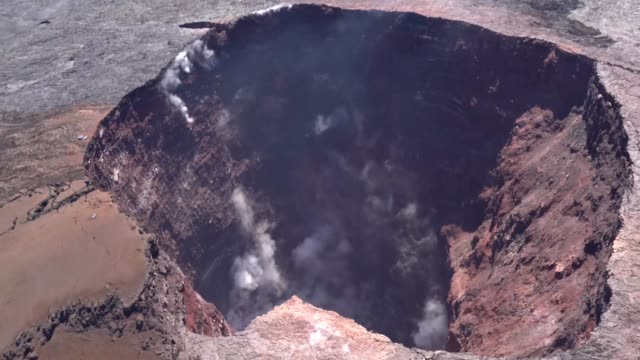 aerial survey footage of hawaii island a year after leilani estates volcano eruption - kilauea stock videos & royalty-free footage
