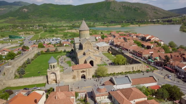 aerial /svetitskhoveli cathedral, a unesco world heritage site in mtskheta, georgia - roman soldier stock videos and b-roll footage