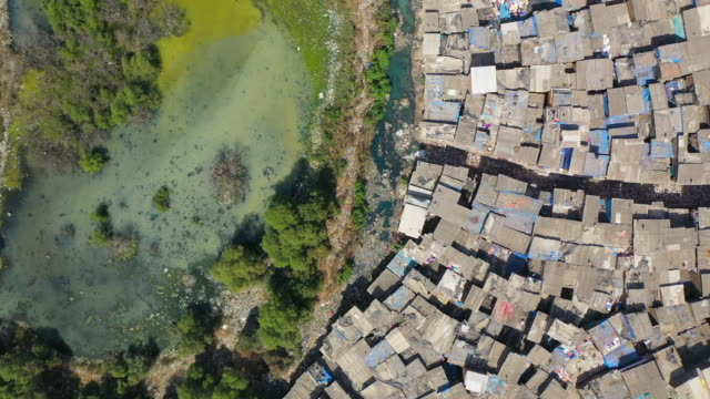 aerial: swamp by houses in slum on sunny day - mumbai, india - abstract stock videos & royalty-free footage