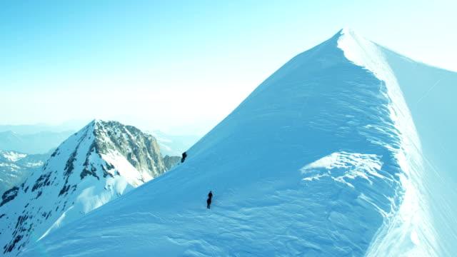 Aerial Switzerland Monch climbers mountain Alps snow travel