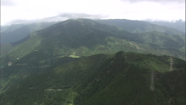 aerial tanzawa mountains - satoyama scenery stock videos and b-roll footage
