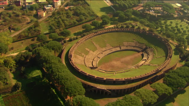 aerial teatro grande in pompeii / italy - amphitheatre stock videos & royalty-free footage