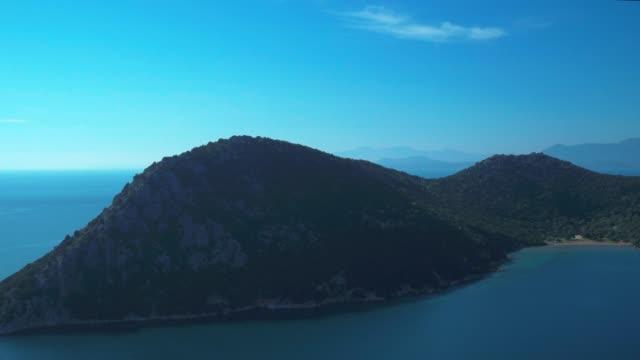 Aerial telephoto - Ionian Sea - revealing the sea of Astakos