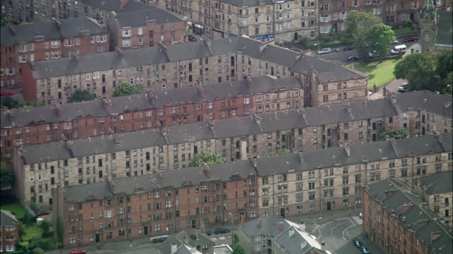 aerial tenements in gorbals area of glasgow, scotland - glasgow stock videos & royalty-free footage