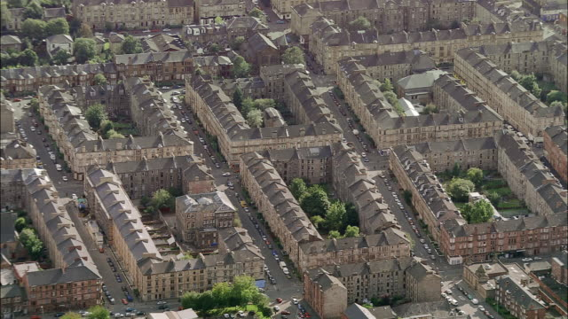 Aerial tenements in Gorbals area of Glasgow, Scotland
