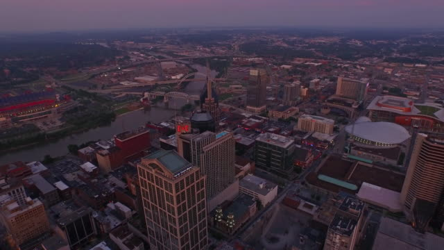 aerial tennessee nashville - dusk stock videos & royalty-free footage
