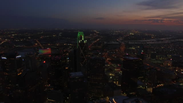 aerial texas dallas - twilight stock videos & royalty-free footage