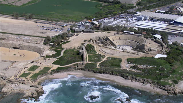aerial the amphitheatre built by herod the great, ancient caesarea, israel - caesarea stock videos & royalty-free footage