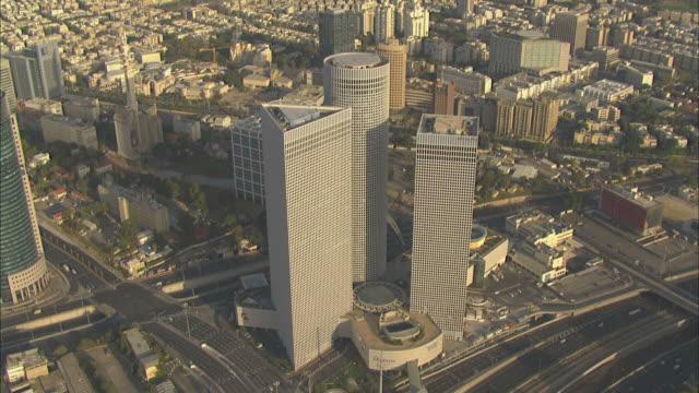 Aerial the Azrieli towers in Tel Aviv,day, Tel aviv, Israel