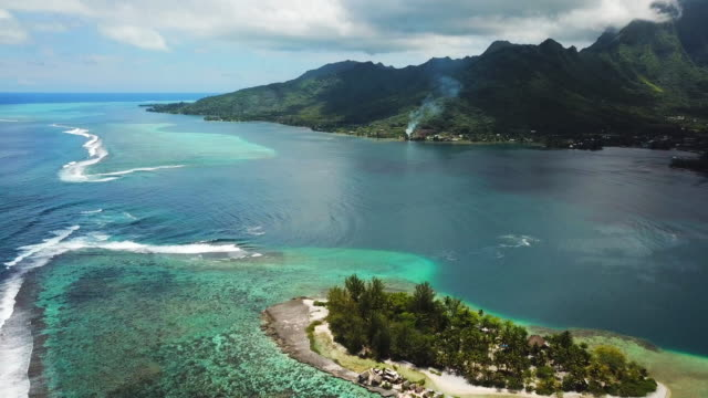 vídeos de stock, filmes e b-roll de aerial: the beautiful south pacific ocean surrounding the tropical island of moorea in the french polynesia - polinésia francesa