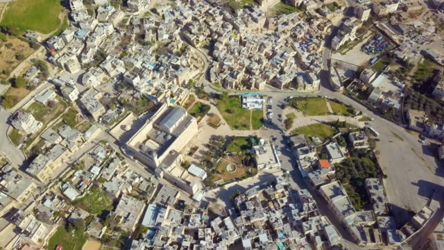aerial / the cave of the patriarchs, also called the cave of machpelah/ hebron, palestinian territories - sanctuary city stock videos & royalty-free footage