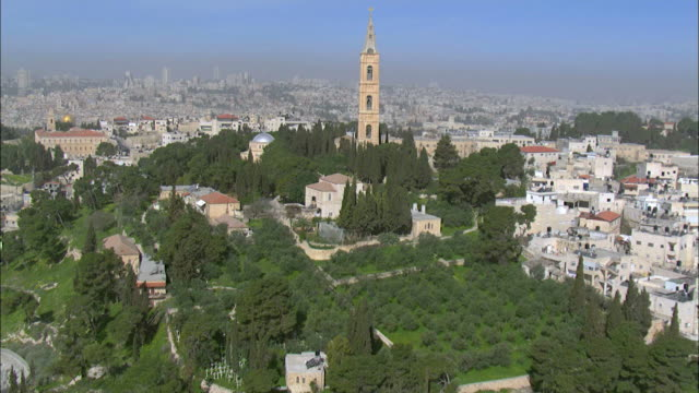 stockvideo's en b-roll-footage met aerial the church of ascension on mount of olives in eastern jerusalem, israel - religieuze illustratie