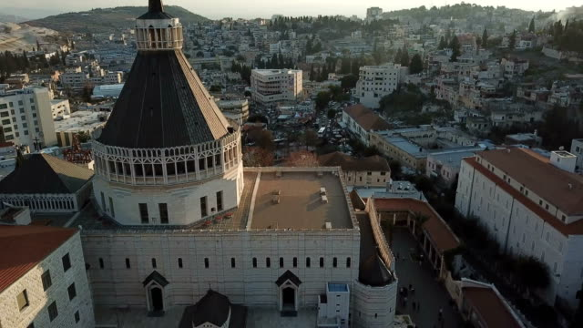 Aerial the church of the Annunciation in the modern city of Nazareth, Lower Galilee, Israel