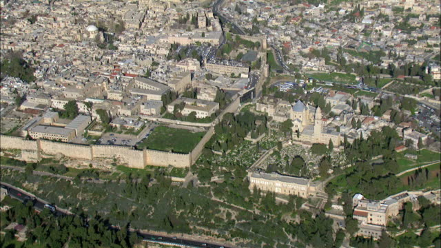 aerial the church of the holy sepulchre in the old city of jerusalem, israel - jerusalem stock videos and b-roll footage