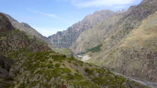 aerial / the darial gorge on the georgian-russian border ,caucasus mountains - caucasus stock videos and b-roll footage