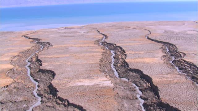 aerial the dead sea in the judea desert, einot tsukim, israel - drainage stock videos & royalty-free footage