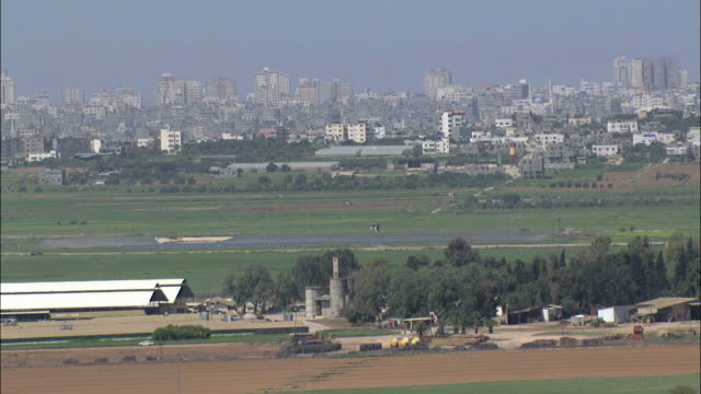 aerial the gaza strip and surrounding agricultural land, gaza, israel - gaza strip stock videos & royalty-free footage
