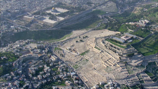 aerial the graveyard on the mount of olives, jerusalem, israel - durability stock videos & royalty-free footage