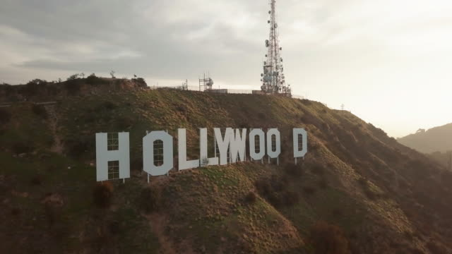 aerial pov of the hollywood sign - hollywood california stock videos & royalty-free footage
