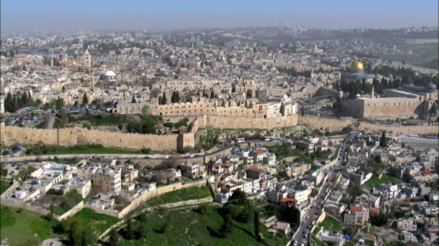 aerial the jewish quarter of the old city of jerusalem, israel - jerusalem stock videos and b-roll footage