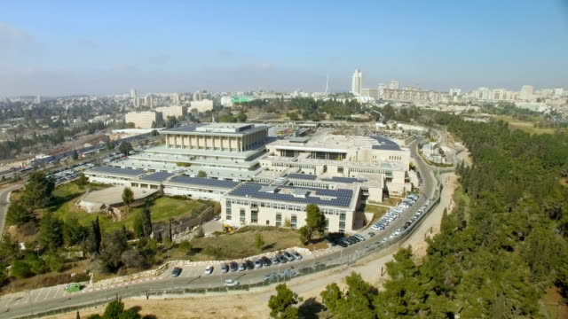 vídeos de stock e filmes b-roll de aerial /the knesset , house of the israeli parliament ,jerusalem - israel