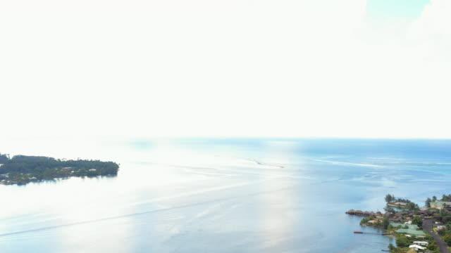 vidéos et rushes de aerial: the ocean in an inlet off a tropical island, moorea, french polynesia - moorea