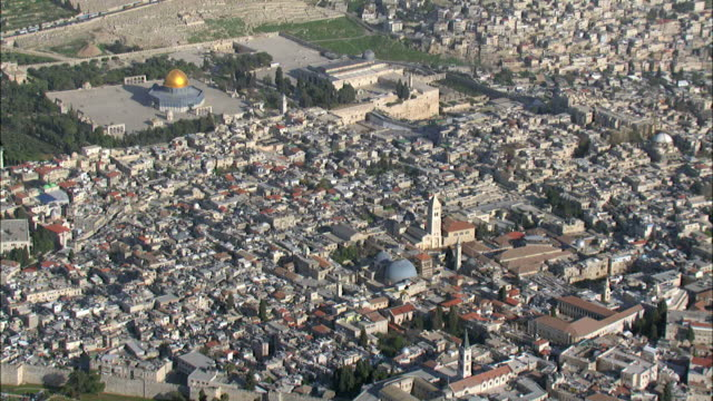 aerial the old city of jerusalem, israel - jerusalem stock videos and b-roll footage