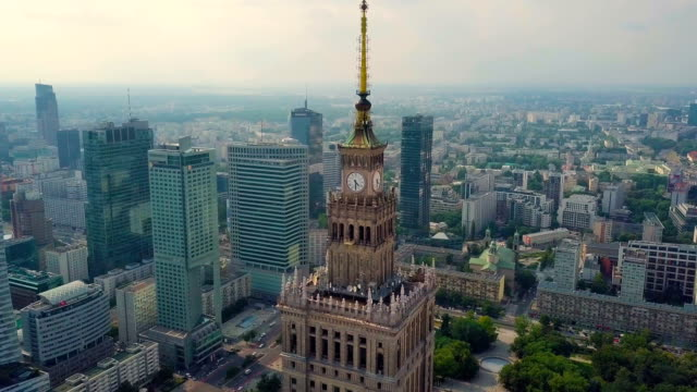 aerial / the palace of culture and science surrounded by skyscrapers, buildings, streets, traffic - warsaw stock videos and b-roll footage