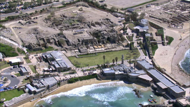aerial the ruins, including hippodrome aka circus, of ancient caesarea, israel - caesarea stock videos & royalty-free footage