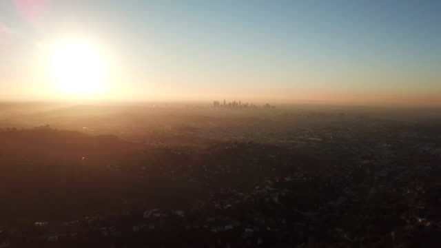 Aerial: The Sunset And The Sky Scrapers