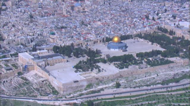 Aerial The Temple Mount in Jerusalem, Israel