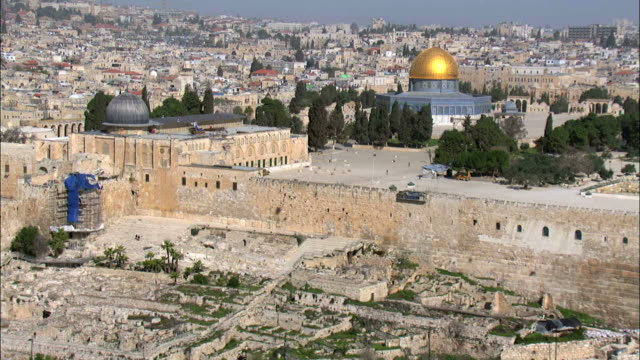 aerial the temple mount in jerusalem, israel - jerusalem stock videos & royalty-free footage