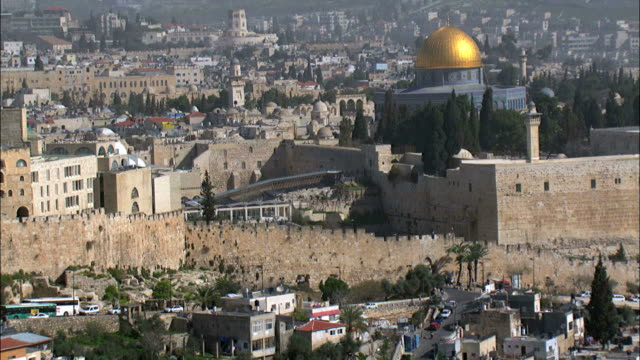aerial the temple mount in jerusalem, israel - jerusalem old city stock videos and b-roll footage