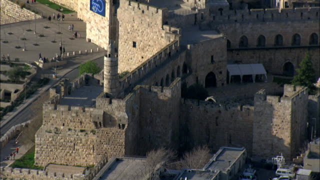 Aerial the Tower of David in the old city of Jerusalem, Israel
