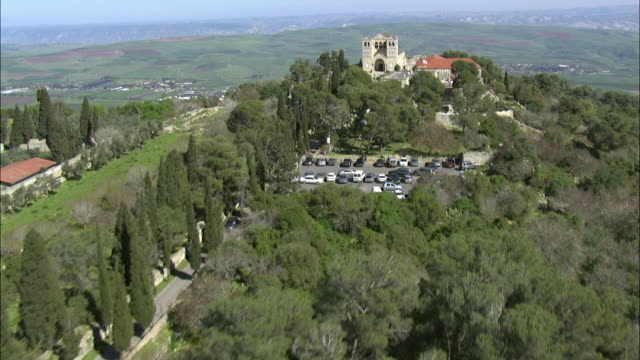 Aerial the Transfiguration Church on the summit of Mount Tabor, Galilee, Israel