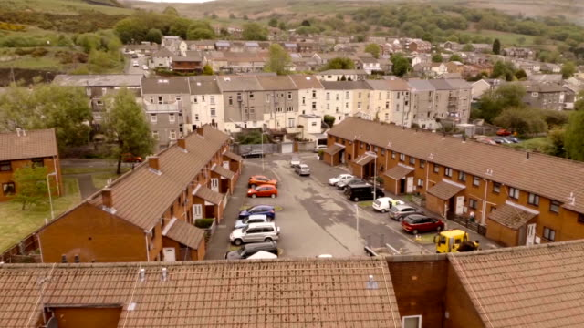 aerial the valleys, wales - terraced house stock videos & royalty-free footage