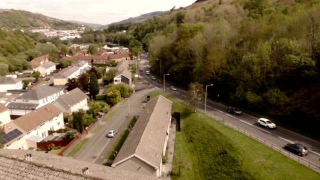 aerial the valleys, wales - wales stock videos & royalty-free footage
