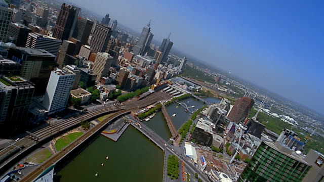 stockvideo's en b-roll-footage met aerial through central business district / melbourne - 2003